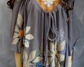Grey evening cape wearable art adjustable  boho top beaded appliqué flowers and fringes asymetrical hemline