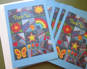 Vintage Calico And Denim Thank You Cards From Hallmark 1970's