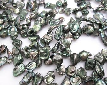 Green Keishi Pearls, Freshwater Cornflake, Keshi Pearls, 7mm x 10mm, SKU 4684