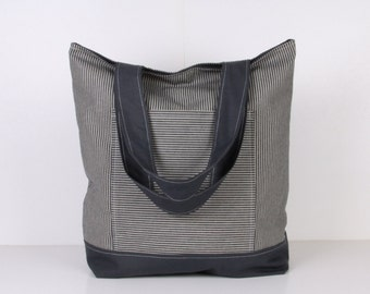Tote Bag / Beach Bag / Travel Bag / Handbag / Diaper Bag / Denim and ecru stripe