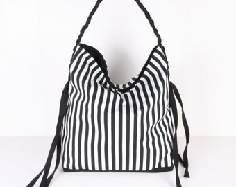 Hobo Bag ,handbag , Shoulder bag , Tote bag ,everyday bag Black and White striped with cream lining