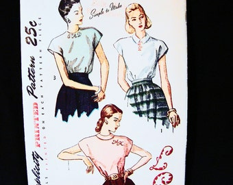 Womens 1940s Blouse Pattern Simplicity Misses Size 16 Simple to Make Blouse with Monogram Vintage Sewing Pattern 40s