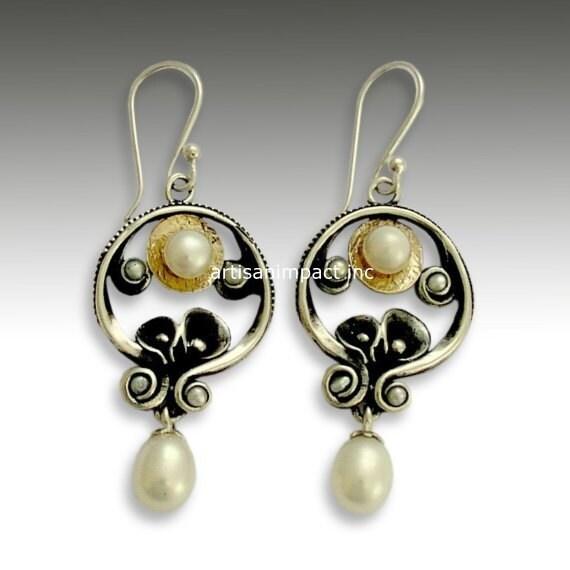 Sterling silver earrings,  fresh water pearl earrings, silver gold  earrings, oxidized earrings, chandelier earrings - Make a wish E2151G
