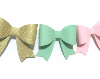 Paper Bow Garland, Custom Colors, Pink and MInt, Modern Nursery, Baby Shower, Wedding Decor