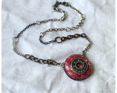 Roller Derby Bearing Necklace - hand cast resin pendant - hot pink glitter