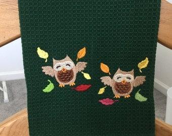 Autumn OWLS Machine Embroidered  DARK GREEN Mini-Waffle Weave Towel