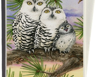 Snow Owls Greeting Card by Tracy Lizotte