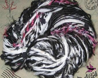 Blushing Zebra / Handspun Art Yarn / Black white pink / Super texture by Fiber Artist GERRY/ knitting gift or crochet