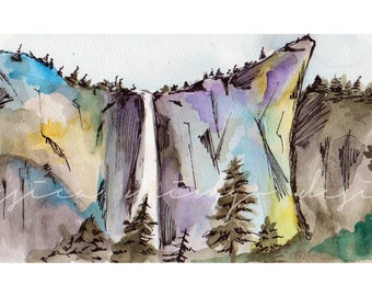 Yosemite Painting, watercolor painting of Yosemite, Yosemite art, Yosemite national park, nature painting, waterfall painting, national park