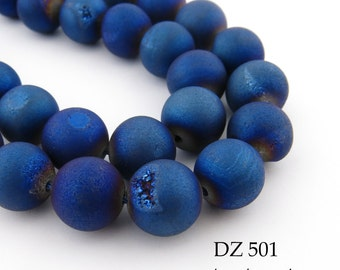 10mm Blue Druzy Agate Geode Beads Matte Blue Purple Blue Berry (DZ 501) 18 pcs BlueEchoBeads