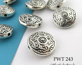14mm Pewter Domed Celtic Coin Beads Antique Silver (PWT 243) BlueEchoBeads 6 pcs