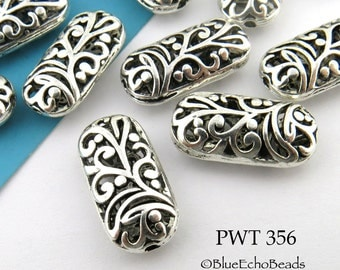 21 x 10mm Hollow Oval Oblong Pewter Beads Antique Silver (PWT 356) 3 pcs BlueEchoBeads