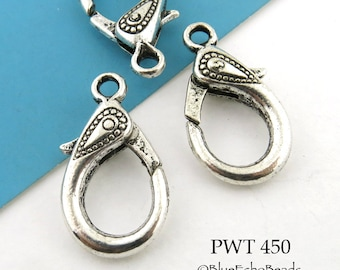 Large Pewter Paisley Design Lobster Clasp Antiqued Silver 31 mm x 16 mm (PWT 450)  3 pieces BlueEchoBeads
