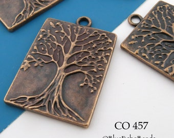 Large Tree of Life Rectangle Charm Antique Copper Tree of Life Pendant 32mm (CO 457) 3 pcs BlueEchoBeads