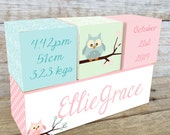 Personalized Wooden Name Birth Blocks Custom Made Owl