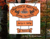 Colored RV Campfire Graphic - Custom Carved Cedar Sign - Happy Camper - included 2 add ons