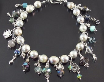 all solid sterling silver Akoya pearl charm bracelet FREE SHIP