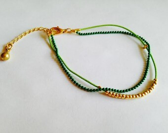 Green Beaded Bracelet with Green Ball Chain