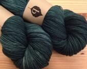 Wellspring Spruce Superwash Merino Fingering Weight Hand Dyed Yarn