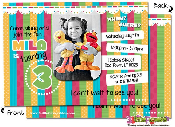 personalized girl colors birthday invitation personalized photo