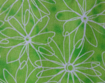 Cotton fabric DAISY Funky Floral Bright Lime Green Ombre Color White Daisies HALF Yard Quilting Fun Fabric for Creative Genius Projects