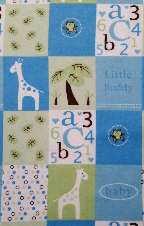 Cotton flannel fabric little buddy blue snuggle baby nursery for Baby nursery fabric