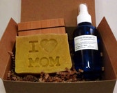 I Heart Mom Gift Set - Lavender Bath and Body Soap and Massage Oil set - Mother's Day gift for moms