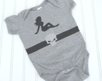 READY TO SHIP Great Costume / Baby Shower Gift bodysuit -  Biker baby Skull sewn cotton applique