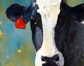 Cow PRINT 8.5 x 11 paper size cow painting cow art PRINT of original watercolor painting Holstein cow art