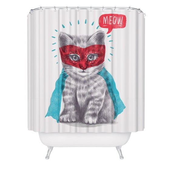 Super cat shower curtain cute funny kitty animal shower for Funny shower curtains