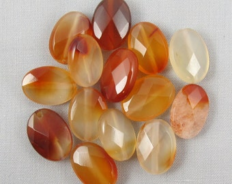 Red Agate 14mm x 10mm Faceted Oval Beads - 14 pieces #B7-8