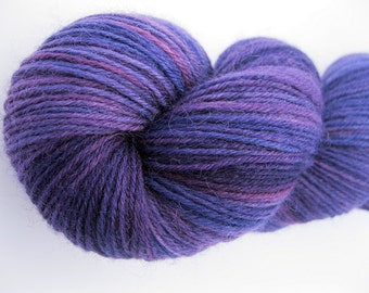 "Sock Yarn ""Aubergine"" - Hand Dyed Sock Yarn, Hand Dyed Yarn in deep purple, burgundy, eggplant - fingering weight, superwash yarn, 437 yards"