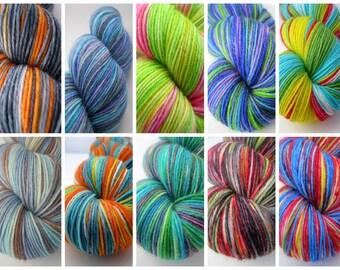 Custom Yarn Dyeing, custom dyed yarn, hand dyed yarn, sock yarn, DK yarn, knitting yarn, crochet, weaving, rug yarn - choose your own colors