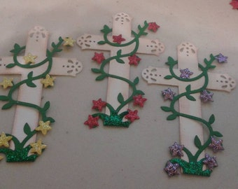 Crosses with vines and flowers