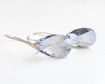 Blue crystal teardrop earrings - Swarovski crystal - blue crystal earrings - blue earrings - crystal earrings