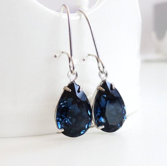 Navy Blue Crystal Drop Earrings Montana Blue Bridal