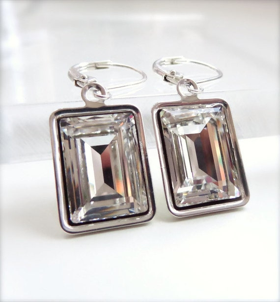 Clear crystal emerald cut earrings - bridesmaid jewelry - weddings