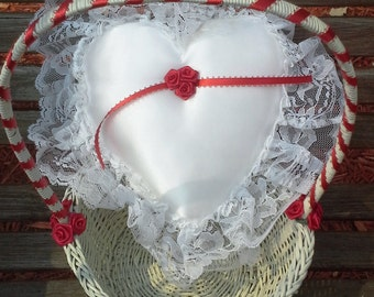 Red and White Flower Girl Basket and Ring Bearer Pillow Set