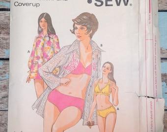 Kwik Sew 480 Bikini and Cover Up Sewing Pattern Misses Size 12  14  16  UNCUT