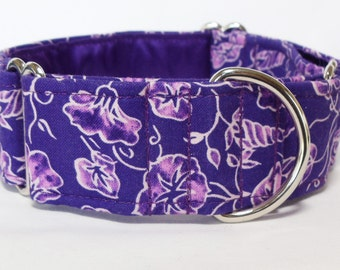 Purple Vines Greyhound, Whippet, Galgo, Saluki, Borzoi, Pet, Dog Martingale or Buckle Collar
