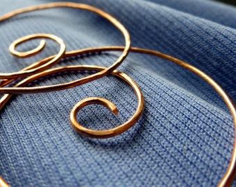 Large Swirl Hoop Earrings. NOT SO MINI 40. Swirls.  hammered surface. 18 gauge Solid Copper Wire