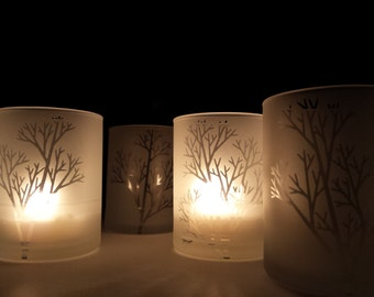 Set Of 4 'Tree Branch' Frosted Glass Votive Holders Engraved Winter Tree Decor Woodland Holiday Home Candle Holder