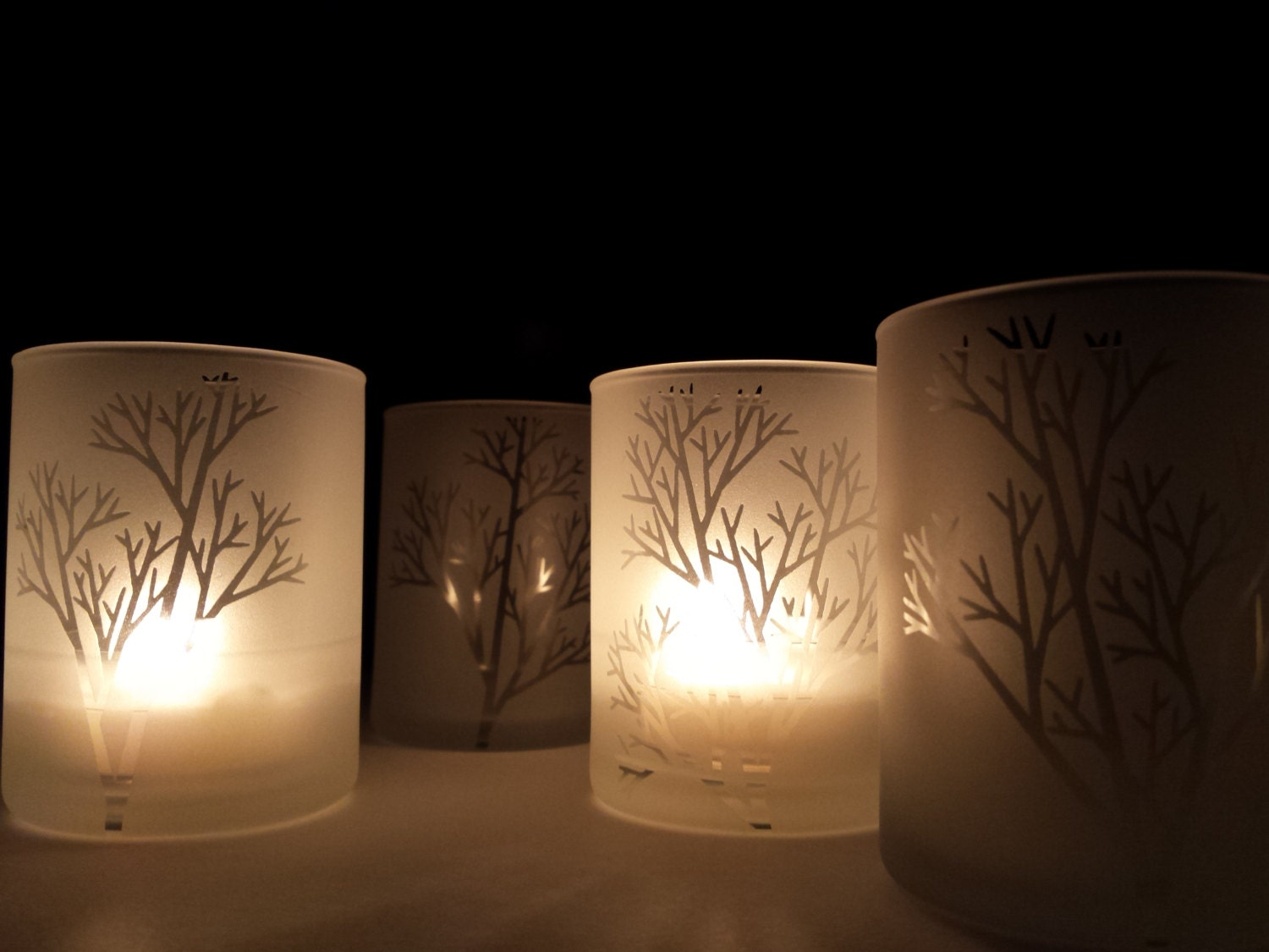 Set Of 6 Tree Branch Frosted Glass Votive Holders