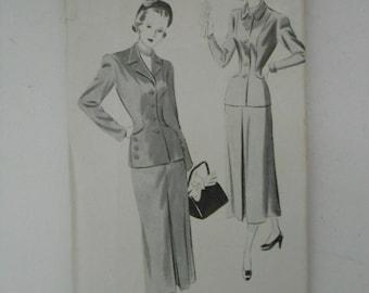 Vintage 40s Skirt and Jacket Fashion Designer Louise Scott Pattern New York 445 Size 14 Bust 32  UNCUT