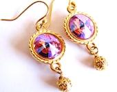 Swarovski Crystal Rivoli Earrings, Rose Crystal Earrings, Gold Vermeil Earrings, Jewelry Gift For Her, VDAY Gift Ready To Ship