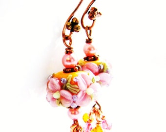 Gift For MOM 40% OFF SALE, Colorful Lampwork Earrings, Pink Orange Flower Beads, Swarovski Crystal Clusters, Antiqued Copper, Ready To Ship