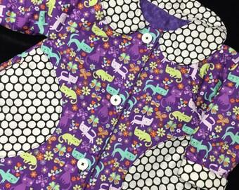 Reversible purple cat coat Sizes 1-4 years