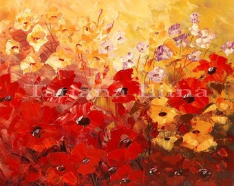 Flower Painting Palette Knife Original Art Handmade Field Meadow red yellow - by Tatiana Iliina - Made to order