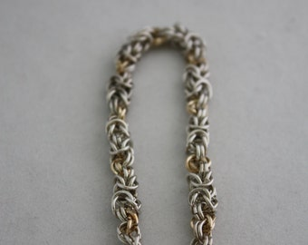 Byzantine chain maille sterling silver bracelet with gold filled flourettes
