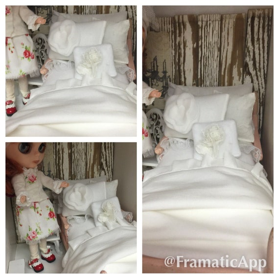 Shabby Chic Blythe Doll  Complete Bedding Set only - 1:6 scale 11 inch doll